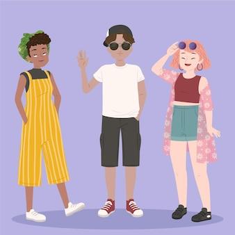 Biologische platte mensen met zomerkleding collectie