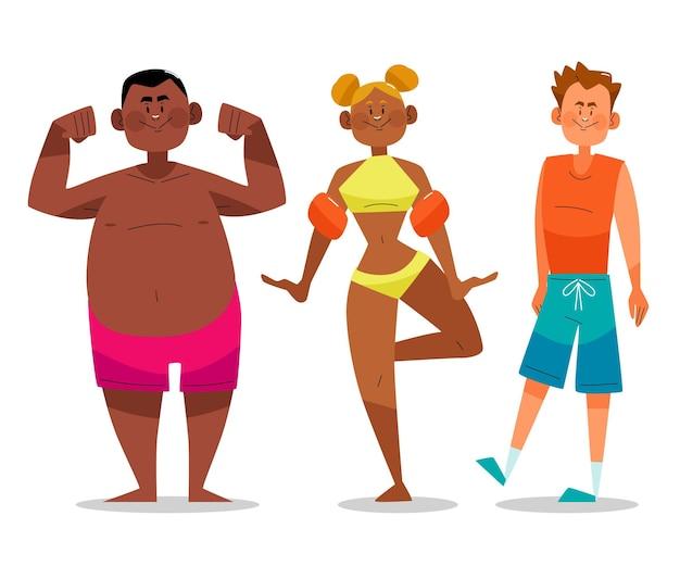 Biologische platte mensen met zomerkleding inpakken