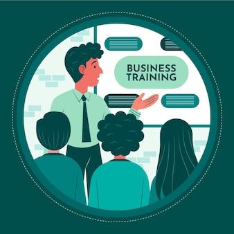 Biologische platte mensen op zakelijke training