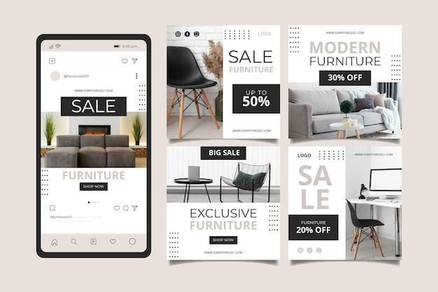 Biologische platte meubels verkoop instagram postcollectie Gratis Vector