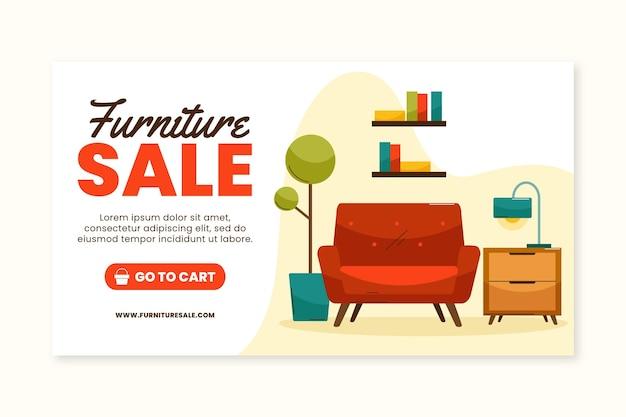 Biologische platte meubels verkoop sjabloon voor spandoek