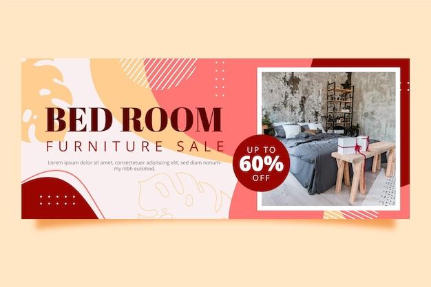 Biologische platte meubelverkoop banner met foto