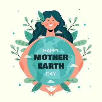Biologische platte moeder aarde dag illustratie