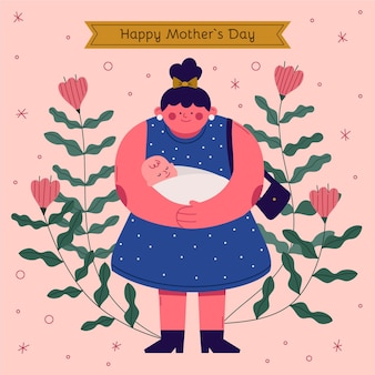 Biologische platte moederdag illustratie