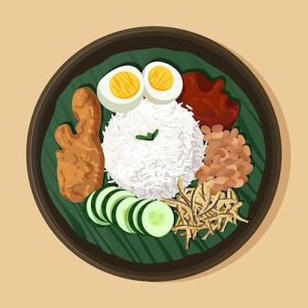 Biologische platte nasi lemak geïllustreerd