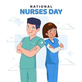 Biologische platte nationale verpleegsters dag illustratie