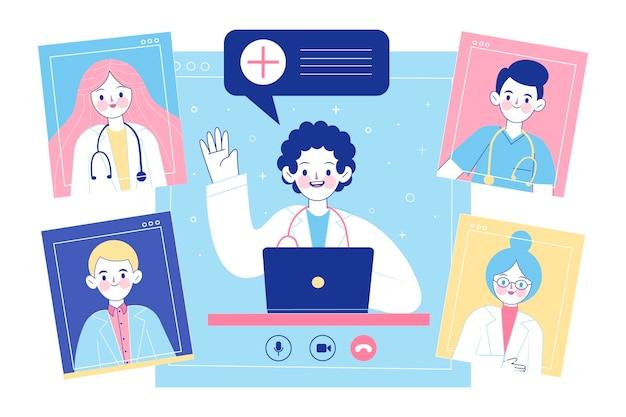 Biologische platte online medische conferentie illustratie