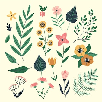 Biologische platte ontwerp bloemen collectie