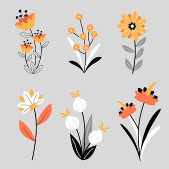 Biologische platte ontwerp bloemencollectie