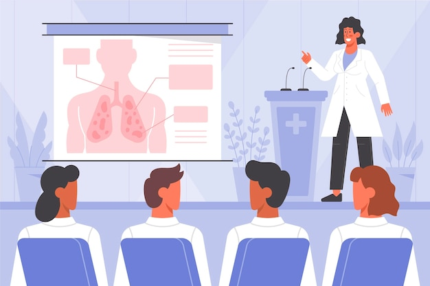 Biologische platte ontwerp medische conferentie