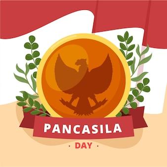 Biologische platte pancasila dag illustratie