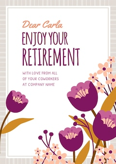 Biologische platte pensioen wenskaart