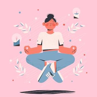 Biologische platte persoon die mediteert