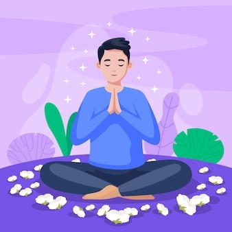 Biologische platte persoon mediteren in lotushouding
