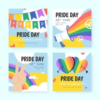 Biologische platte pride-dag instagram-berichtencollectie