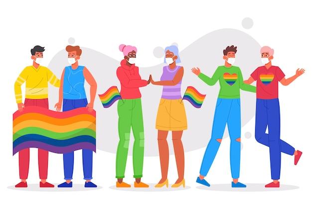 Biologische platte pride-dagpaarcollectie