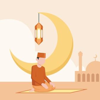 Biologische platte ramadan concept illustratie