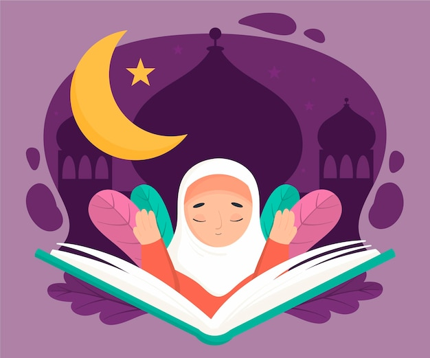 Biologische platte ramadan illustratie met persoon bidden