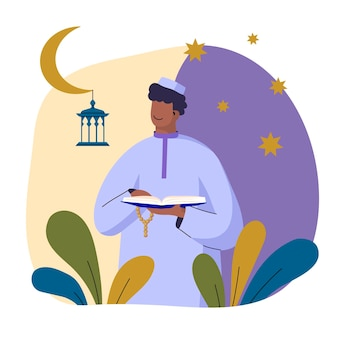 Biologische platte ramadan illustratie