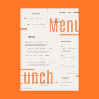 Biologische platte rustieke restaurant menusjabloon