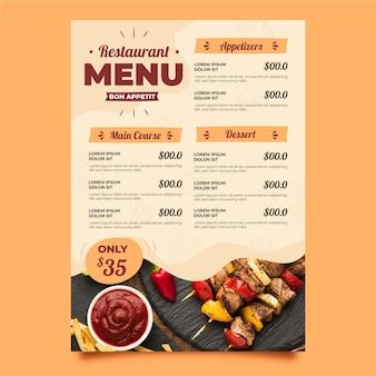 Biologische platte rustieke restaurant verticale menusjabloon met foto