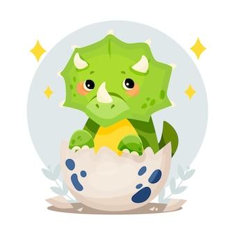 Biologische platte schattige baby dinosaurus geïllustreerd