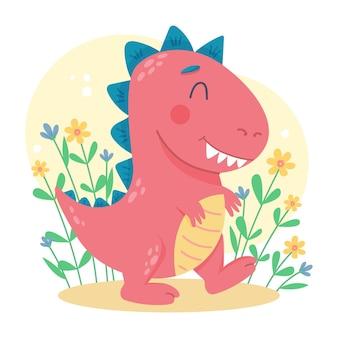 Biologische platte schattige baby-dinosaurus