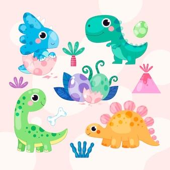 Biologische platte schattige baby dinosaurus