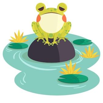 Biologische platte schattige kikker illustratie