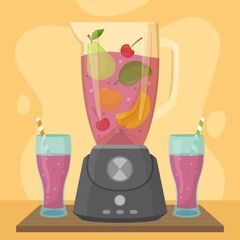 Biologische platte smoothies in blenderglas