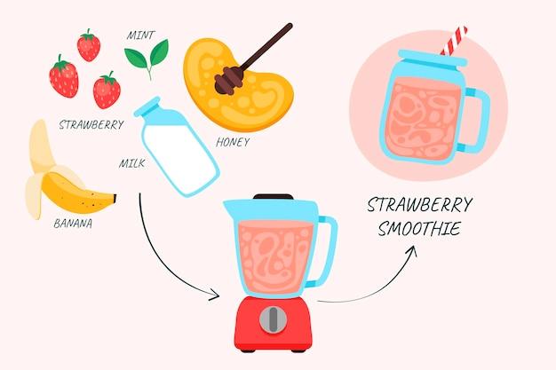 Biologische platte smoothies in de illustratie van het blenderglas
