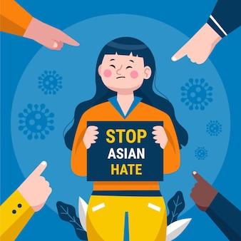 Biologische platte stop aziatische haat illustratie