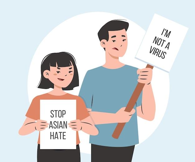Biologische platte stop aziatische haatbericht geïllustreerd