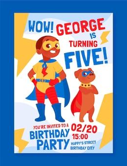 Biologische platte superheld verjaardag uitnodiging sjabloon