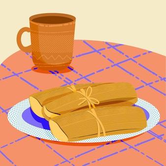 Biologische platte tamales geïllustreerd