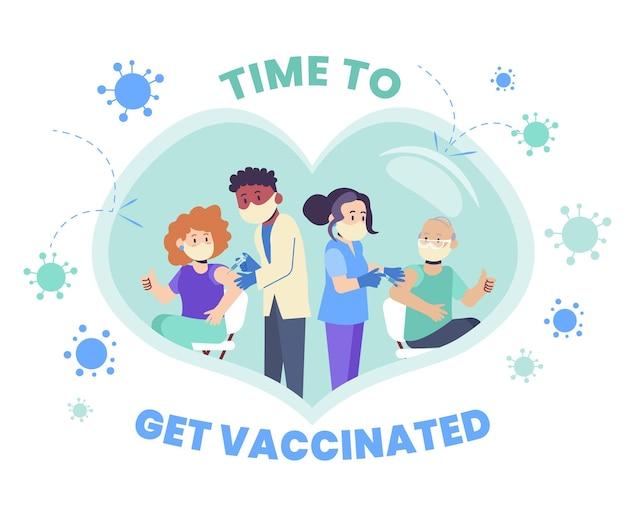 Biologische platte vaccinatiecampagne illustratie