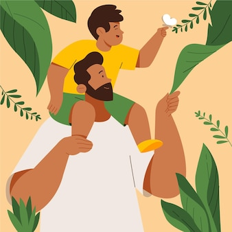 Biologische platte vaderdag illustratie
