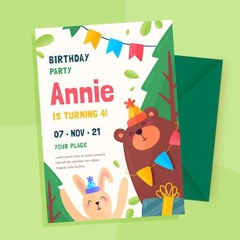 Biologische platte verjaardagsuitnodiging voor kinderen