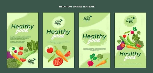 Biologische platte voedsel instagramverhalen