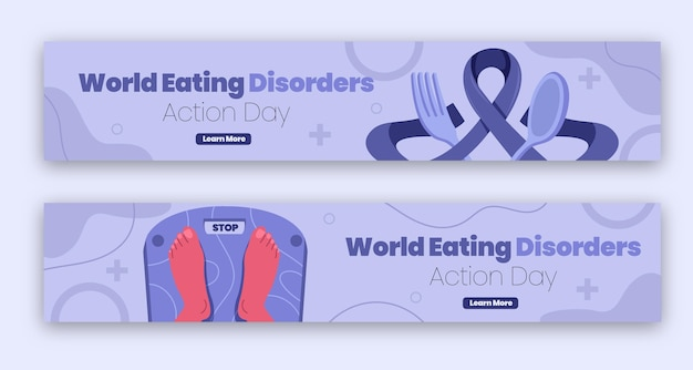 Biologische platte wereld eetstoornissen actiedag banner set