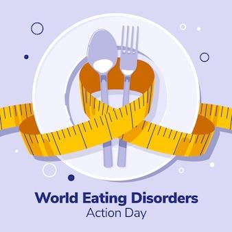 Biologische platte wereld eetstoornissen actiedag illustratie