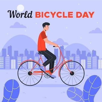 Biologische platte wereld fietsdag illustratie