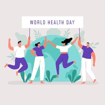 Biologische platte wereld gezondheidszorg illustratie