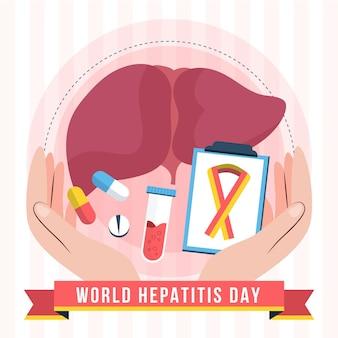 Biologische platte wereld hepatitis dag illustratie