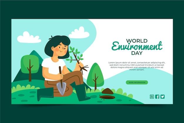 Biologische platte wereld milieu dag sjabloon voor spandoek