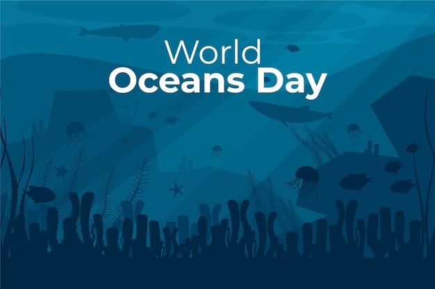 Biologische platte wereld oceanen dag illustratie