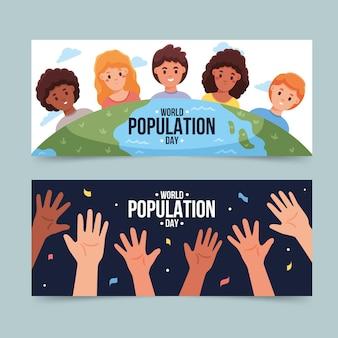 Biologische platte wereldbevolking dag banners instellen