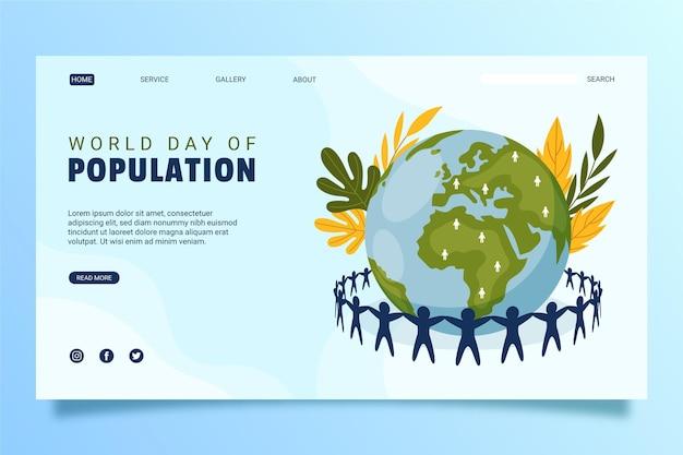 Biologische platte wereldbevolking dag bestemmingspagina sjabloon