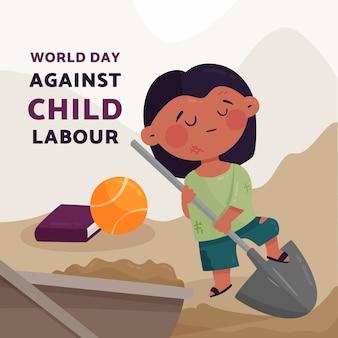 Biologische platte werelddag tegen illustratie van kinderarbeid