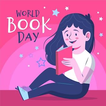 Biologische platte werelddagboekillustratie met vrouwenlezing
